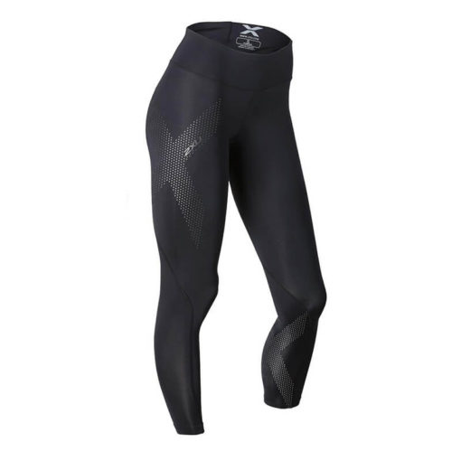 2XU Womens Mid Rise Compression Tights blackdotted reflective logo 1