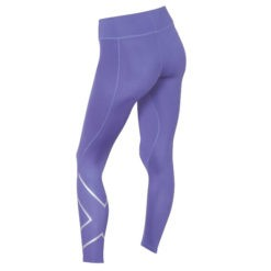 2XU Womens Mid Rise Compression Tights imperial purple silver logo 1