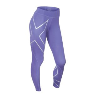 2XU Womens Mid Rise Compression Tights imperial purple silver logo 2
