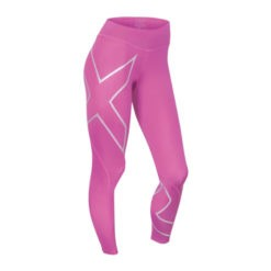 2XU Womens Mid Rise Compression Tights magenta silver logo 1