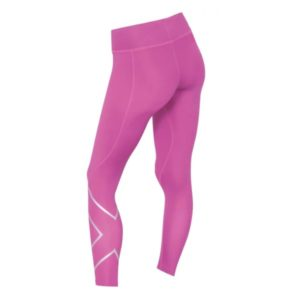 2XU Womens Mid Rise Compression Tights magenta silver logo 2