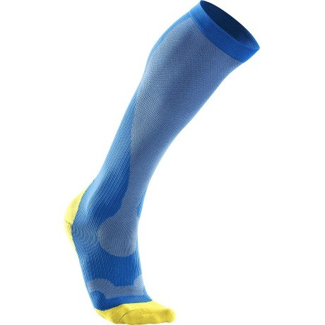 2XU Mens Compression Performance  Run Sock VibrantBlueCanaryYellow 1