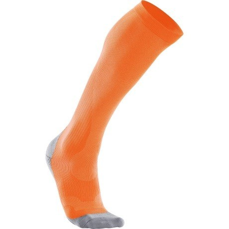 2XU Womens Compression Performance Run Sock Fluro Orange Limestone Grey 1