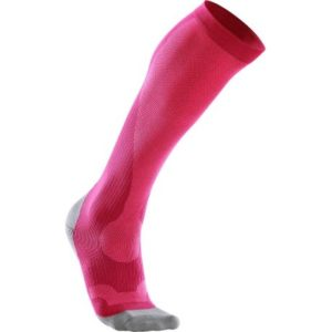 2XU Womens Compression Performance Run Sock Hot Pink Grey
