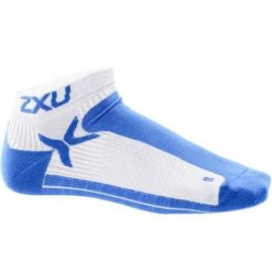 2XU Womens Performance Low Rise Sock White Catalina Blue 1