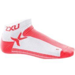 2XU Womens Performance Low Rise Sock White Neon Coral 1