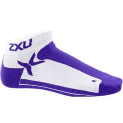2XU Womens Performance Low Rise Sock White Purple Hue 1