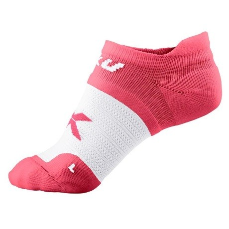 2XU Womens Performance No Show Sock Coral Rose White 1