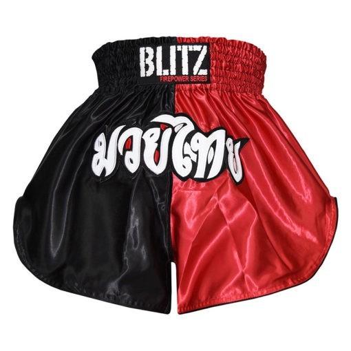 Blitz Thaiboxningsshorts Kids svart rod 1