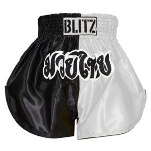 Blitz Thaiboxningsshorts Kids svart vit 1
