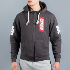 East West Zip Up Hoody Black Melange 1