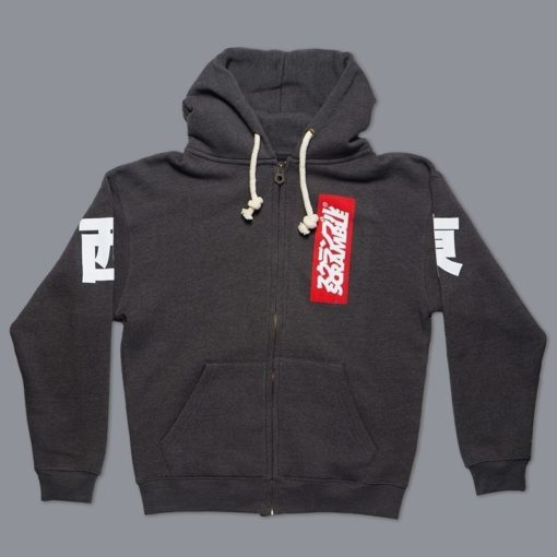 East West Zip Up Hoody Black Melange