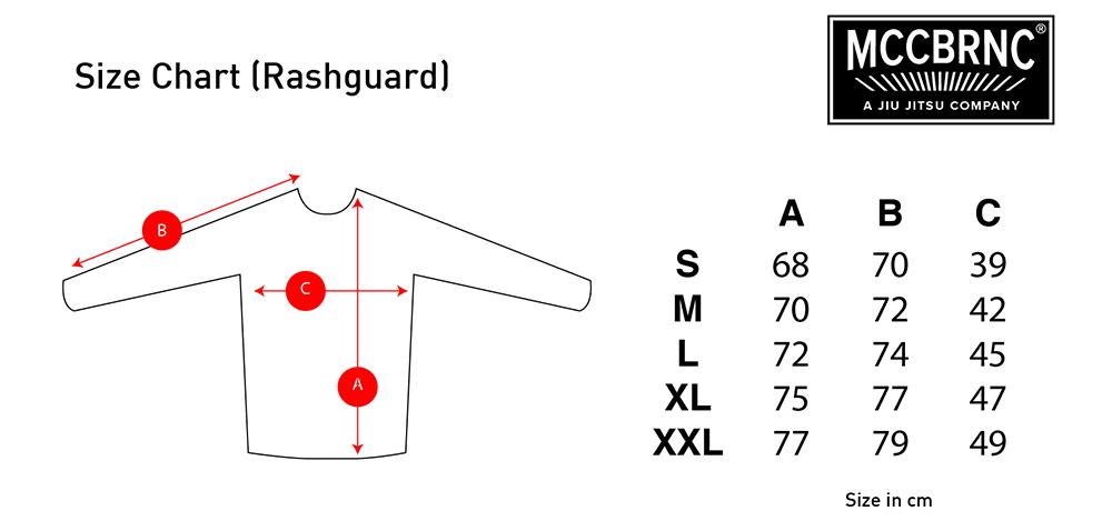 Macaco Branco Rashguard size chart