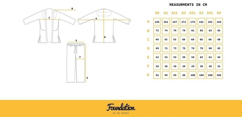 Progress Jiu Jitsu BJJ Gi Foundation size