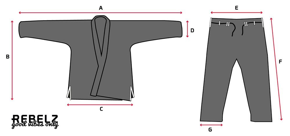 Rebelz Gi Sizing Guide