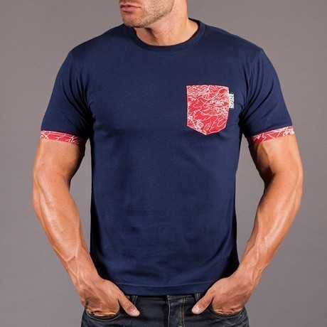 Scramble T shirt Irezumi Pocket navy 1